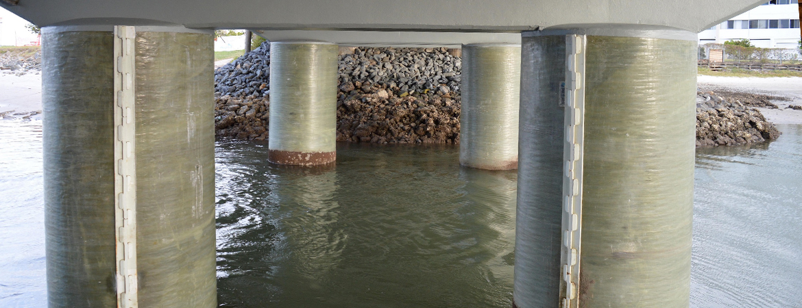 Under view of bridge with repaired piles